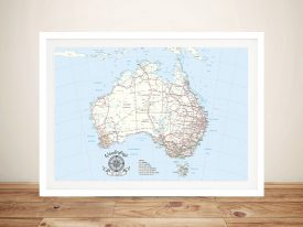 Australia Detailed Light Blue Rectangle Pin Map
