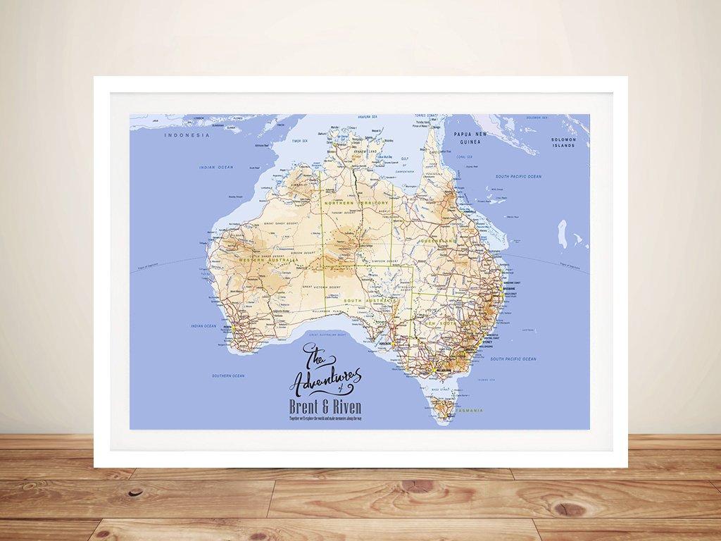 Australia Detailed Rectangle Pin Map