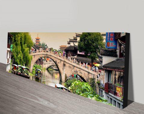 Shanghai Water Town Panoramic Canvas Print