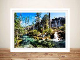 Waterfalls in the Jiuzhaigou Framed Art