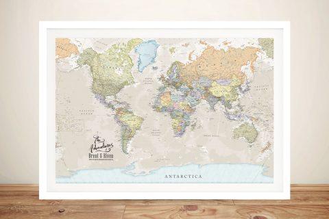 Pathfinder Framed Wall Art World Map