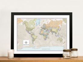 Pathfinder Framed Wall Art World Map