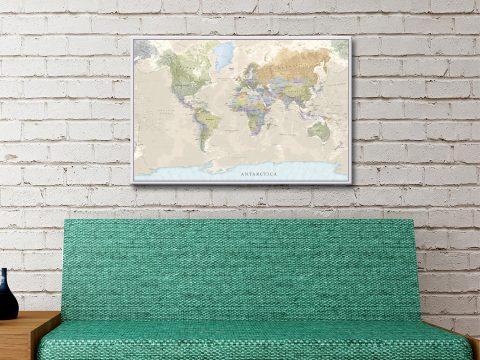 Pathfinder World Map PushPin Cork Canvas Artwork