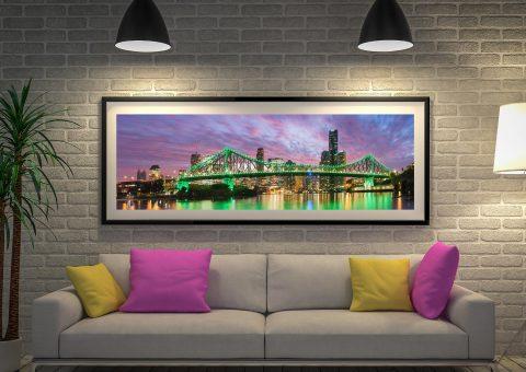 Brisbane Sundown Panoramic Framed Art