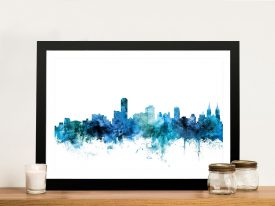 Canvas Print of Adelaide Skyline in Blue
