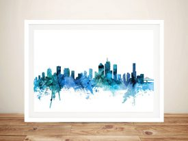 Buy Brisbane Skyline Wall Art In Blue