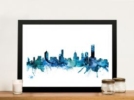 Melbourne Skyline Watercolour Canvas Art