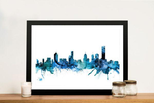 Melbourne Skyline Watercolour Canvas Art