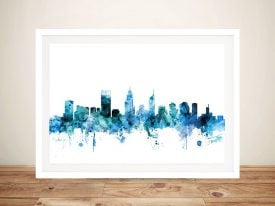 Perth Watercolour Skyline Wall Art Online