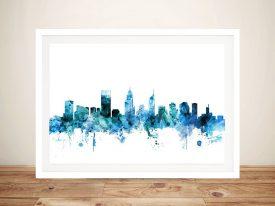 Perth Watercolour Skyline Wall Art Online