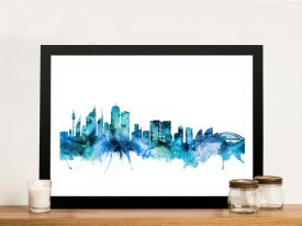 Sydney Watercolour Skyline Wall Art in Blue