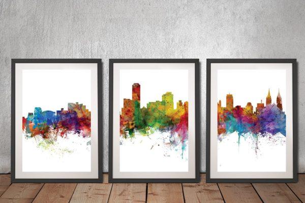 Buy Adelaide Skyline Triptych Wall Art