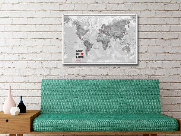Atlantas Push Pin World Map Black And White Canvas