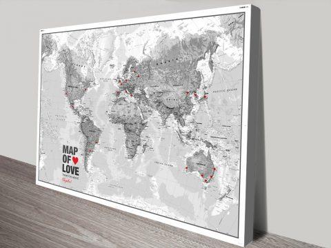 Atlantas Push Pin World Map Black-And White Canvas