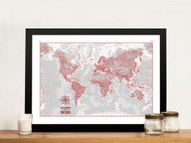 Buy PersonalisedColour Wash Push Pin MapsWall Art Australia