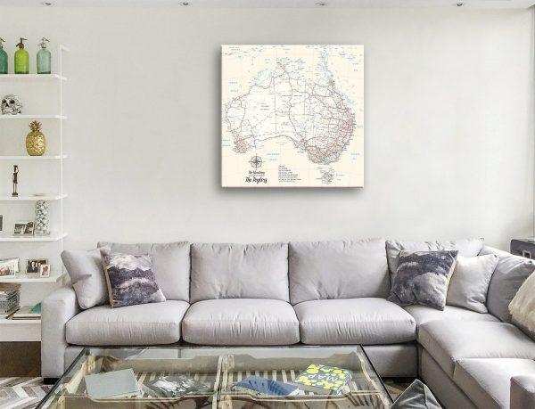 Australia Cream Pinboard Canvas Artwork