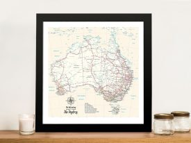 Personalised Australia Cream Push Pinboard Travel Map Framed Wall Art