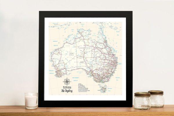 Personalised Australia Cream Push Pinboard Travel Map Framed Wall Art