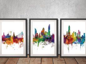 Buy A Bangkok Thailand Skyline Triptych Print