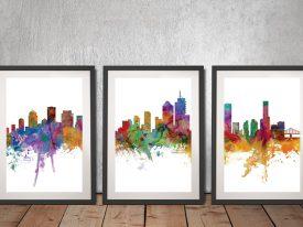 Buy Brisbane Skyline Triptych Framed Art