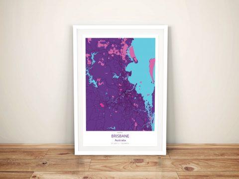 Brisbane Street Map Purple Pop Framed Wall Art
