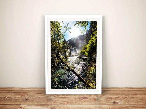 Waterfalls in the Jiuzhaigou ll Framed Art