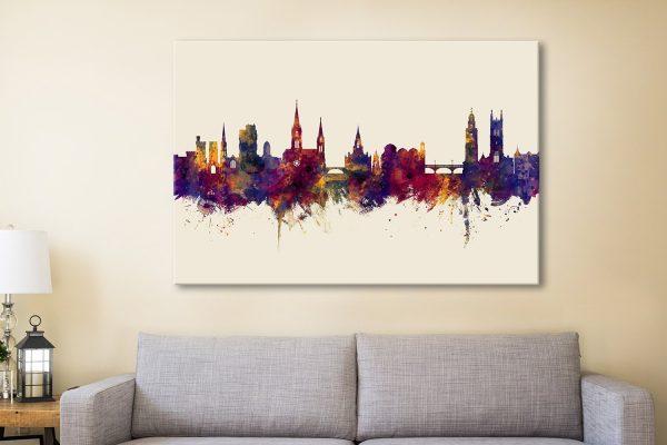 Cork Ireland Skyline Watercolour Canvas Artwork