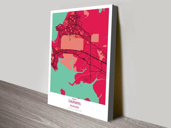 Darwin Map Pop Pink canvas print