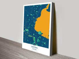 Geelong City Map-Blue and Orange canvas print