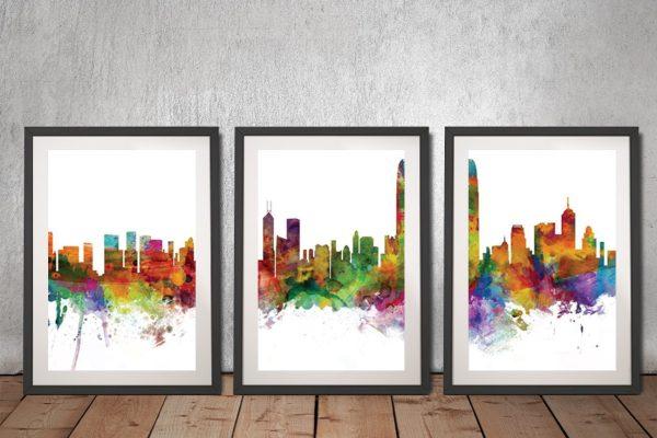 Buy Hong Kong Skyline Triptych Canvas Artwork