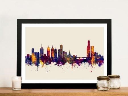 Melbourne Australia Skyline Michael Tompsett Framed Wall Art