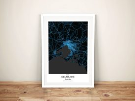 Melbourne Electric Blue City Map Wall Art Print