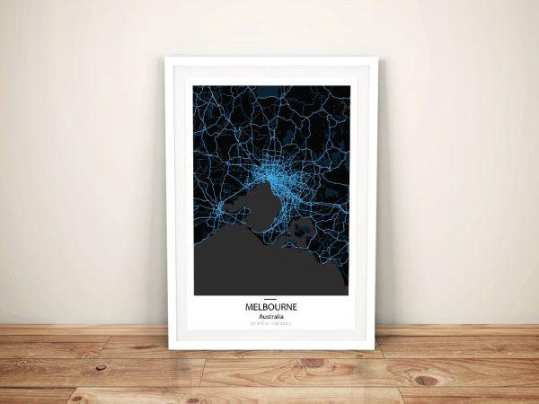 Melbourne Electric Blue City Map Wall Art Print