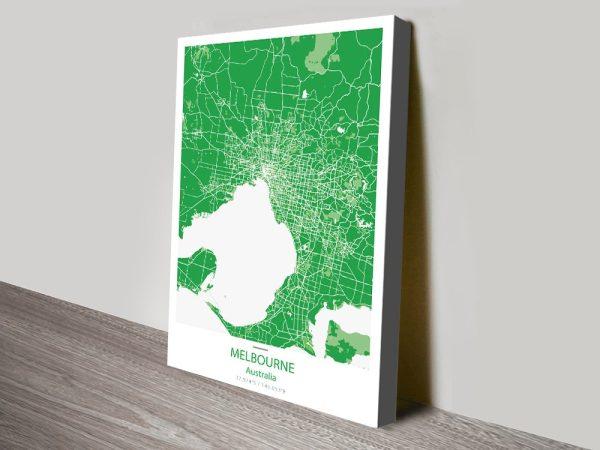 Melbourne Green City Map canvas print