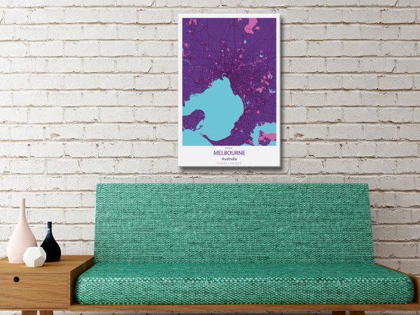 Melbourne City Map Purple Canvas Artwork