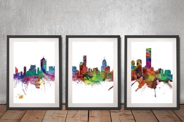 Buy Melbourne Skyline 3-Panel Framed Print