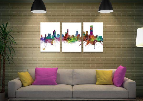 Buy a Triptych Melbourne Skyline Art Set