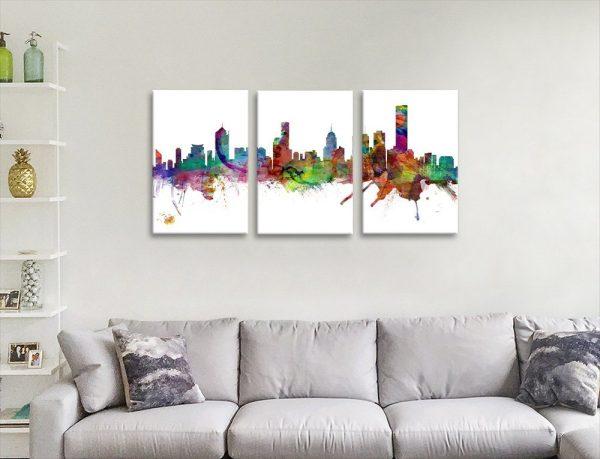 Watercolour Melbourne Skyline 3-Panel Art
