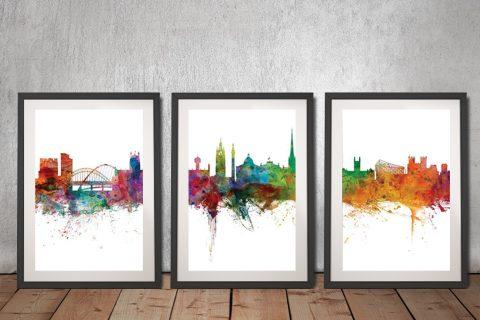 Buy A Newcastle Skyline Triptych Framed Print
