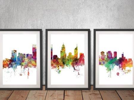 Buy Perth Australia Skyline Triptych Wall Art