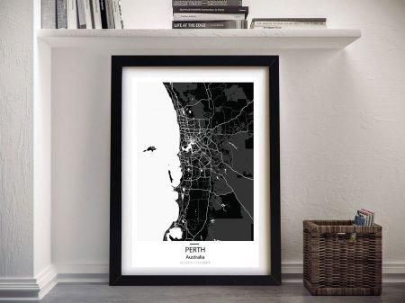 Perth City Street Map Wall Art