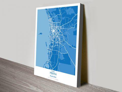 Perth Street Map Blue Canvas Print