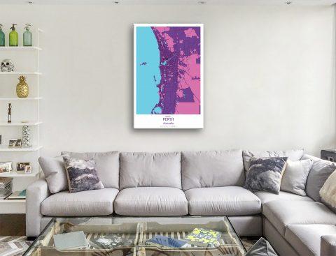 Perth Street Map Purple Canvas Artwork