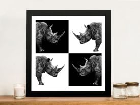 Safari Profile Collection Rhinos Framed Wall Art