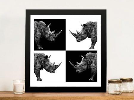 Safari Profile Collection Rhinos Framed Wall Art