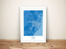 Sydney City Map Blue Framed Wall Art