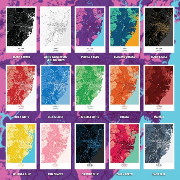 Personalised Colours City Maps Artwork Australia