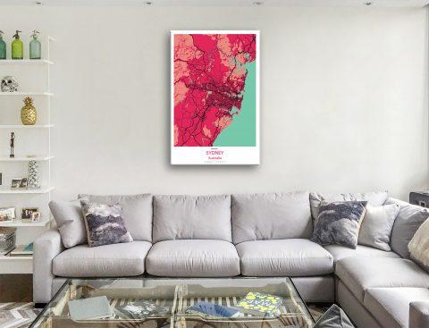 Sydney Map Art Red Canvas Prints