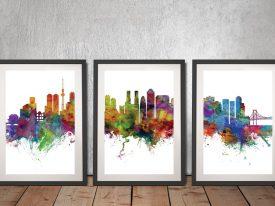 Buy Tokyo Skyline Triptych Framed Art Set