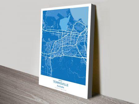 Townsville City Map Blue Canvas Print